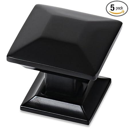 Southern Hills Black Cabinet Knobs - Pack of 5 - Square Kitchen Cupboard Knobs Drawer Pulls SHKM006-BLK-5