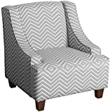 HomePop K6465-A795 Youth Accent Chair, Gray and White Chevron