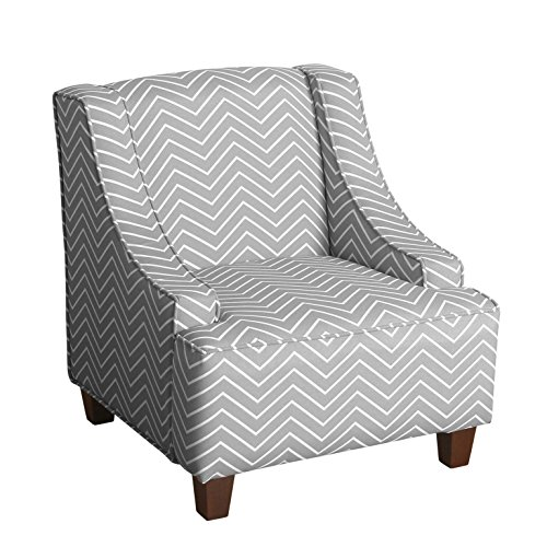 HomePop K6465 A795 Youth Upholstered Swoop Arm Accent Chair, Grey And White  Chevron