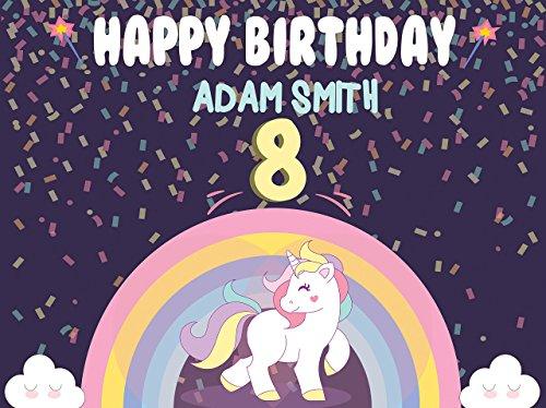 (Rainbow Magic Unicorn Pony Birthday Poster for Kids - Size 24x36, 48x24, 48x36; Personalized Pony Unicorn Confetti Theme Happy Birthday Banner Wall Décor, Handmade Party Supply Poster Print)