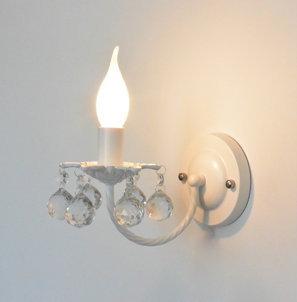 Chen Pastoral Stil Kristall Wand Lampe Prinzessin Zimmer Schlafzimmer Wandleuchte Kinderzimmer Nachttischlampe (Farbe : Weiß)