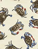 Timeless Treasures Blue Crabs Quilt Fabric C3994 Cream By The Yard