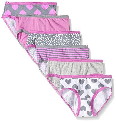 Cherokee Little Girls' 6 Pack Hipster, Pink/Heather Grey Asst Pack, 14 - Girls Basic Panty