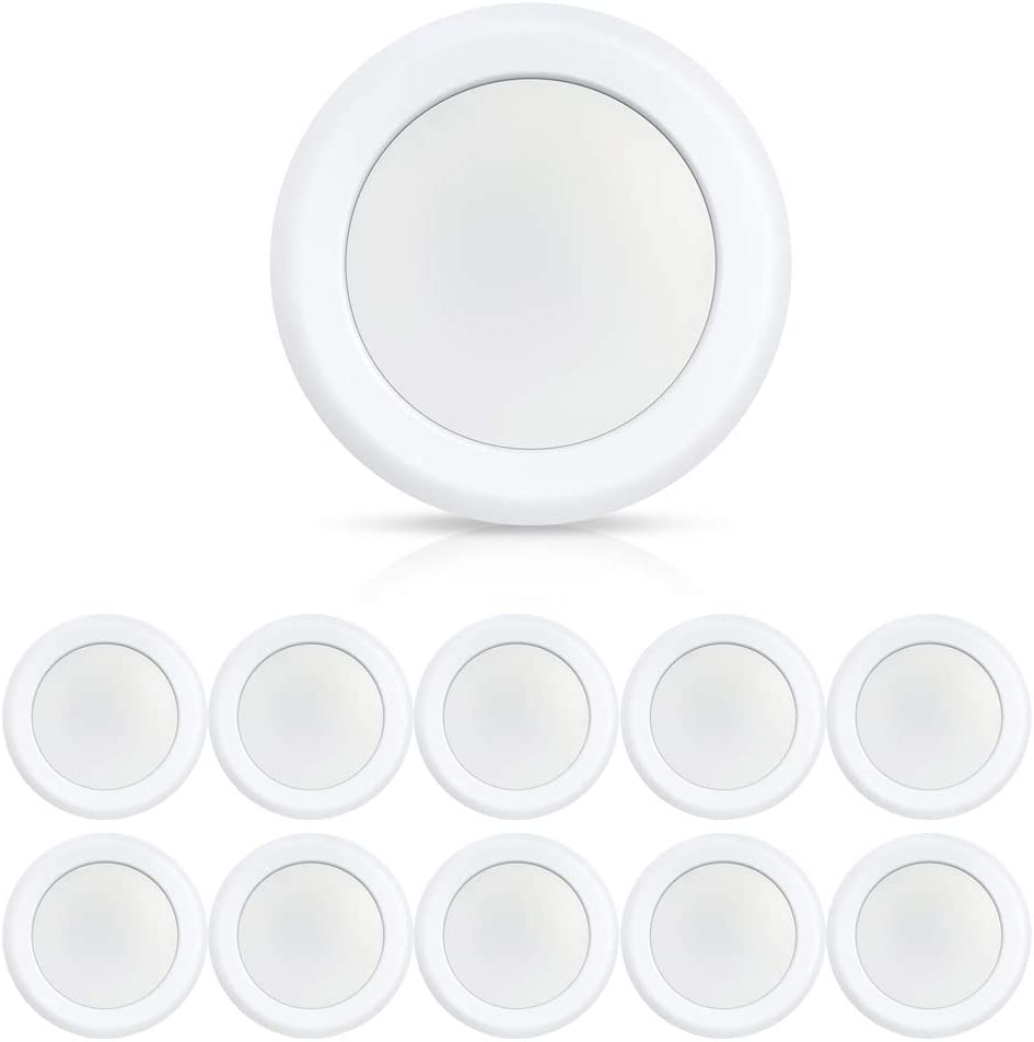 ECOELER 6 Inch LED Disk Light Daylight for Home Improved, 15W Surface Mount Ceiling Light, 5000K, 1100LM, Low Profile Aluminum Baffle Trim, Energy Star & UL-Listed Approved, Pack of 10 Light Fixtures