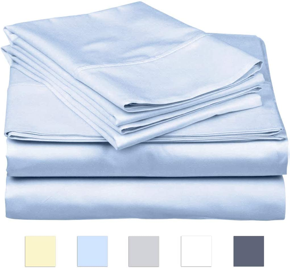 SanCozy Bed Sheets Set, 400 Thread Count, 4 Piece Set, Light Blue, Full, Sateen Weave, Long Staple Combed Cotton, Breathable, Fade Resistant, Deep Pocket Fits up to 18 inches