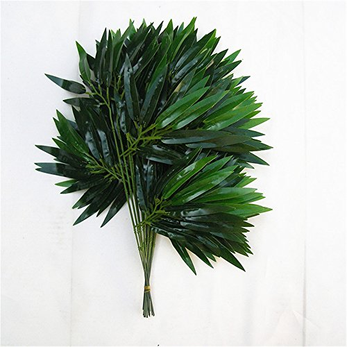 HY 45CM Artificial Bamboo Leaves Wedding Decoration Accessories Fake PE Plastic Branch Stem Bridal Home Salon Decorations Pack of 12PCS (Bamboo Branch)
