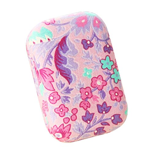 [Fantastic Pink Flower Printing Contact Lenses Holder Student Lenses Cases] (Prescription Colored Contact Lenses)