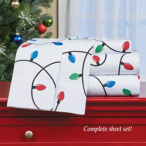 winston inc Holiday Christmas Lights On This Colorful Sheet Set