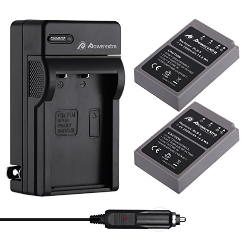 Powerextra 2 Pack Battery & Charger Compatible for Olympus BLS-5, BLS-50, PS-BLS5 and Olympus OM-D E-M10, Pen E-PL2, E-PL5, E-PL6, E-PL7, E-PM2, Stylus ()