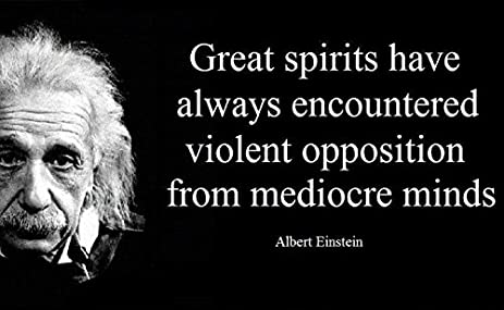 12x18 Poster Famous Quote Albert Einstein Quote Great Spirits Have Always  Encountered Violent Opposition