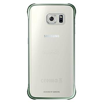 Samsung Slimline Clip-On Hülle Clear View Case Cover für Samsung Galaxy S6 Edge, Metallic grün/transparent