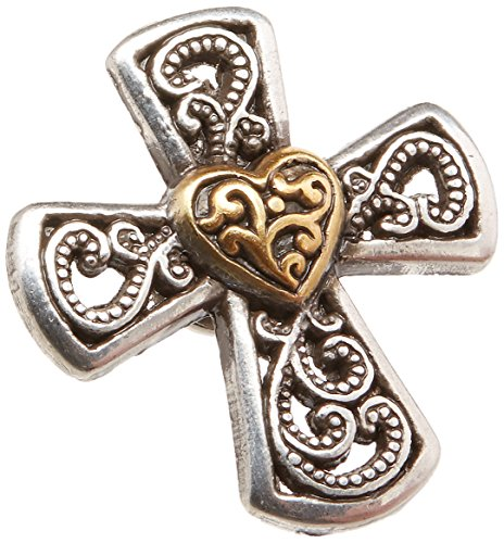 Realeather Crafts Elegant Cross Heart Concho Screwback, 1