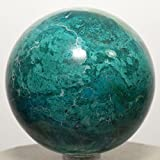 60mm Blue Chrysocolla Sphere w/ Malachite Natural Sparkling Mineral Polished Ball Chalcedony Crystal Gemstone - Peru + Plastic Stand