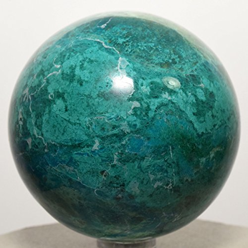 60mm Blue Chrysocolla Sphere w/ Malachite Natural Sparkling Mineral Polished Ball Chalcedony Crystal Gemstone - Peru + Plastic Stand by HQRP-Crystal