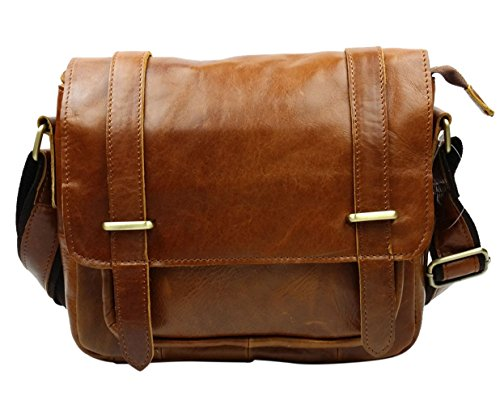 insum transversal de piel para hombre bolso Messenger Bag Marrón