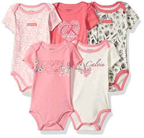 Calvin Klein Baby Girls' 5 Pack Bodysuits, Vanilla/Coral, 0-3 Months