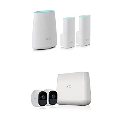 Arlo Pro by NETGEAR - 2 Rechargeable Wire-Free HD Cameras with Audio  (VMS4230) with NETGEAR Orbi Whole Home WiFi System (RBK33)  Smart Home  Starter
