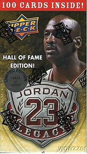 Michael Jordan Hall of Fame Factory Sealed Limited Edition Box Set with 100 Cards Includes Awesome 1986 Fleer Rookie Reprint Card! 100 Michael Jordan Cards in MINT Condition Celebrating his HOF Career