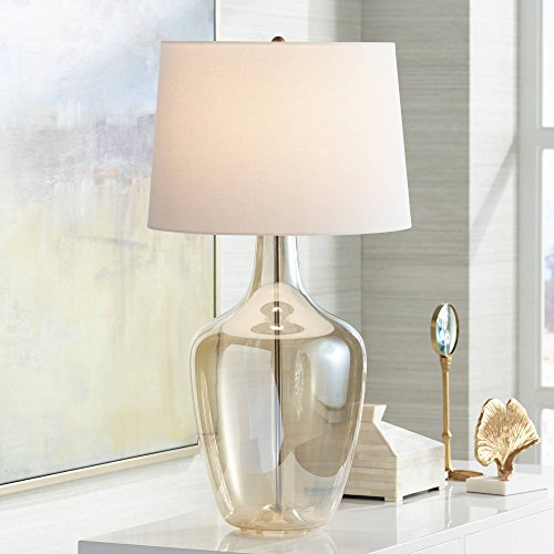 Ania Modern Table Lamp Clear Champagne Glass Jar Off White Drum Shade for Living Room Family Bedroom Bedside Office - Possini Euro ()