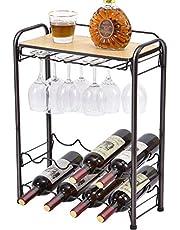Kingrack Wijnrek voor 8 flessen, metalen wijnrek met brillenhouder en wijnhouder en tafelblad, 4 verdiepingen, vrijstaande wijnhouder voor keuken, wijnkelder, bar, werkblad