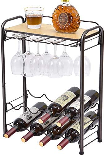 TOOLF 8 Bottle Wine Rack Freestanding Floor