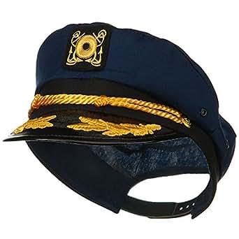 Jacobson Hat Company Yacht Skipper Hat Ship Captain Cap Costume Sailor Boat Ship Captains,Navy,Adjustable