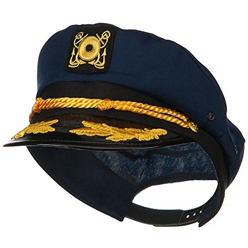 [Navy Blue Yacht Skipper Hat Ship Captain Cap Costume Sailor Boat Ship Captains] (Ship Captain Costumes)