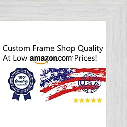 Amazon.com - Poster Palooza 28x36 Rustic White Wood Picture Frame ...