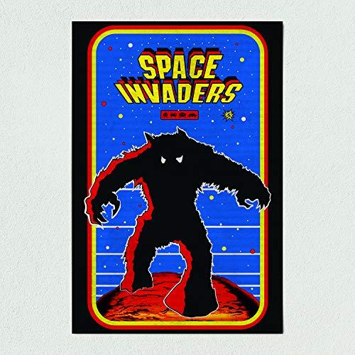 Retro Space Invaders - ArtPrintJoy Space Invaders Retro Arcade Art Print Poster 12″ x 18″ Wall Art AV1107