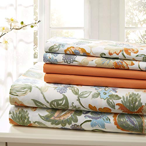 (Traditional Home Sheet Set Cotton Percale 6 Piece Print Twin Full Queen King Soft (Orange Flower, King))