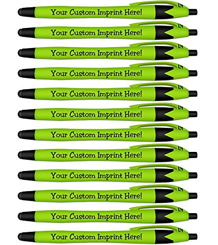 Rubberized Soft Touch Personalized Ink Pens with Stylus - Click action - Custom - Black writing - Printed Name - Imprinted with Your Logo/Message - FREE PERZONALIZATION - 12 Pens/Box (Light Green)]()