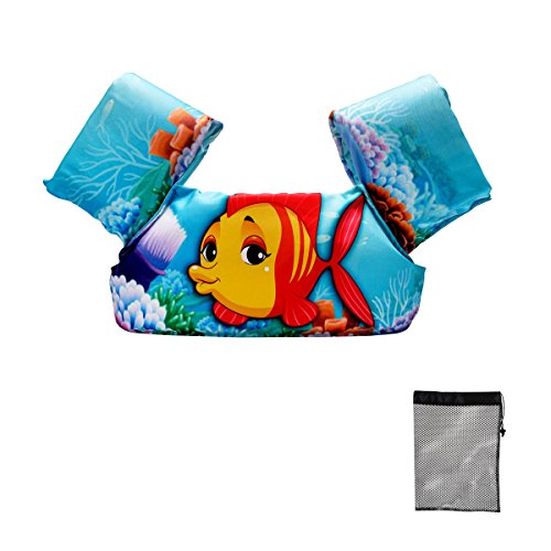 Elejolie Child Life Jacket, Learn to Swim Aid Floatation Life Vest for Kids,Toddlers Swim Safty Aid (22-66lbs)(Clown Fish) (Jumpers Kids Puddle Shoes)