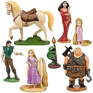 Disney Tangled - Juego de 7 figuras de la película Enredados (Rapunzel, Rapunzel niña, Flynn Rider, Pascal, Maximus, bruja Gothel y Mano de Garfio)