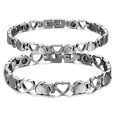 Starista Unisex Titanium Stainless Steel Heart Hollow Magnetic Therapy Hematite Balance Bracelet
