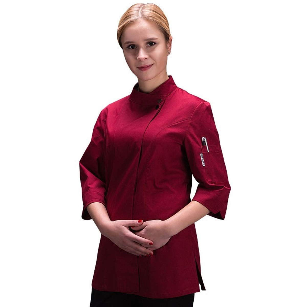 Women's Chef-Coat 3/4 Sleeve Concealed Snap Chef Works Summer Chef Jacket XINFU