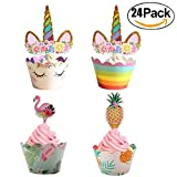 Hawaii Cupcake Toppers and Wrappers Double Sided Party Cake Decorations