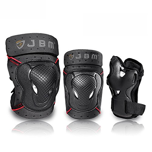 JBM Adult BMX Bike Knee Pads and Elbow Pads with Wrist Guards Protective Gear Set for Biking, Riding, Cycling and Multi Sports: Scooter, Skateboard, Bicycle, Rollerblades (Black, - Guard Wrist Set