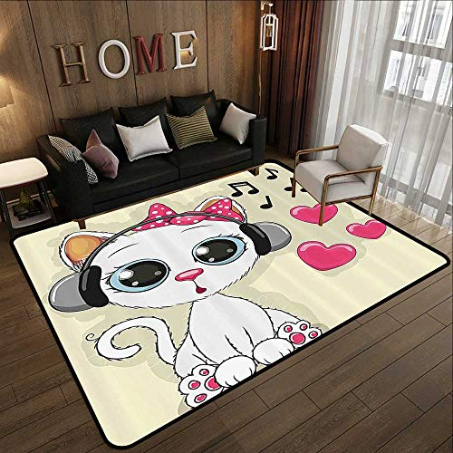 Rubber mat,Cartoon Decor Collection,Cartoon Kitty with Headphones Heart Bubbles and Musical Tunes Big Eye Animal Art,Pink Beige WHI 63