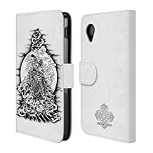 Official Bioworkz Howling Wolf Ornate Leather Book Wallet Case Cover For LG Nexus 5