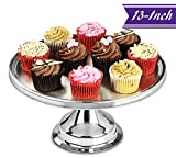Stainless Steel Cake Stand 13-Inches, Cake Decorating Stand by Tezzorio, Commercial Grade Metal Cake Stand, Great for Restaurant