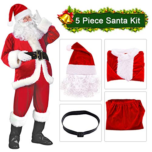 Christmas Claus Costume Velvet Deluxe Santa Men's Set Suit Red -