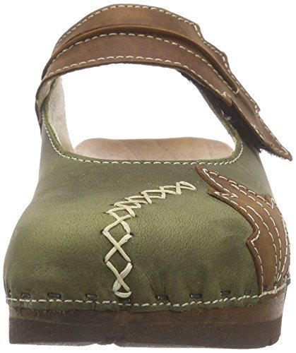 Woody Rebekka 10720 - Zuecos de cuero nobuck para mujer Verde - verde (oliva)