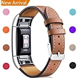 [Best Buy]For Fitbit Charge 2 Replacement Bands, Hotodeal Classic Genuine Leather Wristband with Metal Connectors, Fitness Strap for Charge 2