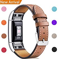 [Add Gift to Cart!]For Fitbit Charge 2 Replacement Bands, Hotodeal Classic Genuine Leather Wristband with Metal Connectors, Fitness Strap for Women Men, Small Large
