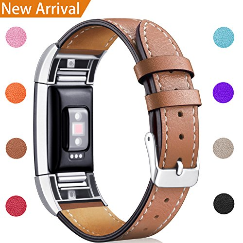 Genuine Leather Bracelet Wristband (For Fitbit Charge 2 Replacement Bands, Hotodeal Classic Genuine Leather Wristband With Metal Connectors, Fitness Strap for Charge 2, Elegant Brown)