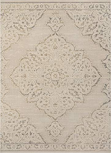 - Well Woven Calla Vintage Beige & Grey Distressed Oriental Medallion Area Rug 7x10 (7'2