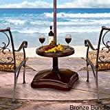 Shademobile Table Umbrella Base w/ Easy Rolling Outdoor Umbrella Stand (up to 125lb) Heavy Duty Universal Design for Weighted Commercial Patio & Deck Big Mobile Sun Shade w/ Hidden Wheels (Bronze)