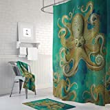 KANATSIU Monochromatic Octopus Shower Curtain 12 Plactic Hooks,100% Made Polyester,Mildew Resistant & Machine Washable,Width x Height is 60x72