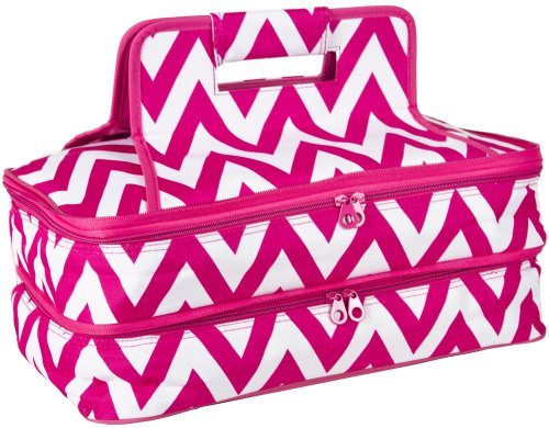 Ever Moda Chevron Thermal Insulated Casserole Carrier Bag 2 Compartments (Pink)