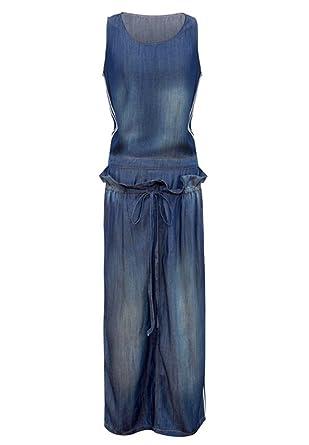 d8b78aa99d1c BININBOX Fashion Damen Tailliert Jeanskleid Bodycon Denim Ärmellos  Blusenkleid Lang  Amazon.de  Bekleidung
